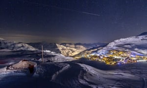 Val Thorens in France  at night, village lit up, pic taken from Montagnes