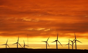 Dunlaw Wind Farm at dawn at Soutra Hill North in the Scottish Borders.