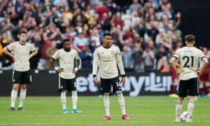 The looks on the faces of the Manchester United players tell their own story after going 2-0 behind at West Ham.