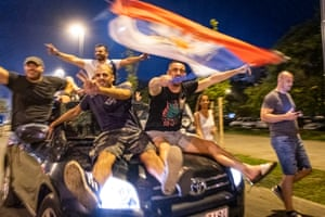 Podgorica, Montenegro. People celebrate after the country's opposition claimed election victory