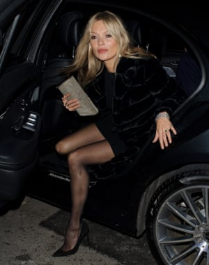 Kate Moss arriving at the Vogue BAFTA party at Annabel's club in Mayfair