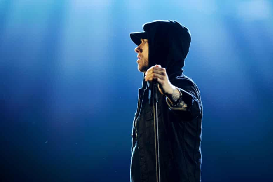 Looking left... Eminem performing at the MTV EMAs in November.