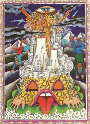 """The Tower: Walter Wegmüller, """"Neuzeit Tarot,"""" 1983The Swiss painter, Krautrock recording artist and traditional Romani gypsy created his vibrantly hallucinogenic Tarot arcana throughout the late '70s and early '80s. After being introduced to a record producer through his friend Timothy Leary, he recorded a lengthy double concept album dedicated to the art. The vinyl came with the full deck of Neuzeit Tarot"""