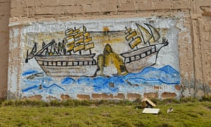 A mural at the government-run Bou Slim detention centre in Tripoli evokes the broken dreams of many migrants.