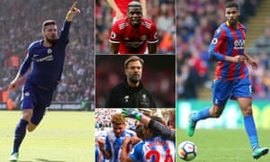 Clockwise from left: Olivier Giroud, Paul Pogba, Ruben Loftus-Cheek, Huddersfield celebrate and Jürgen Klopp.