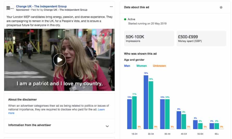 A Change UK political advert on Facebook
