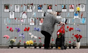 A makeshift memorial to medical workers who have died from Covid-19 in central St Petersburg, Russia.