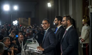 Luigi Di Maio speaks to the media