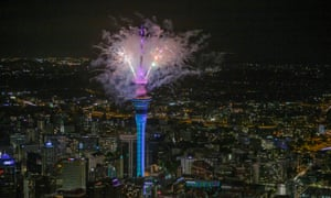 Fireworks from the SkyTower during Auckland New Year's Eve celebrations,