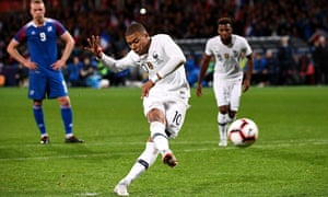 Kylian Mbappé scores France's 90th-minute equaliser from the penalty spot after coming off the bench to deny Iceland a famous victory.
