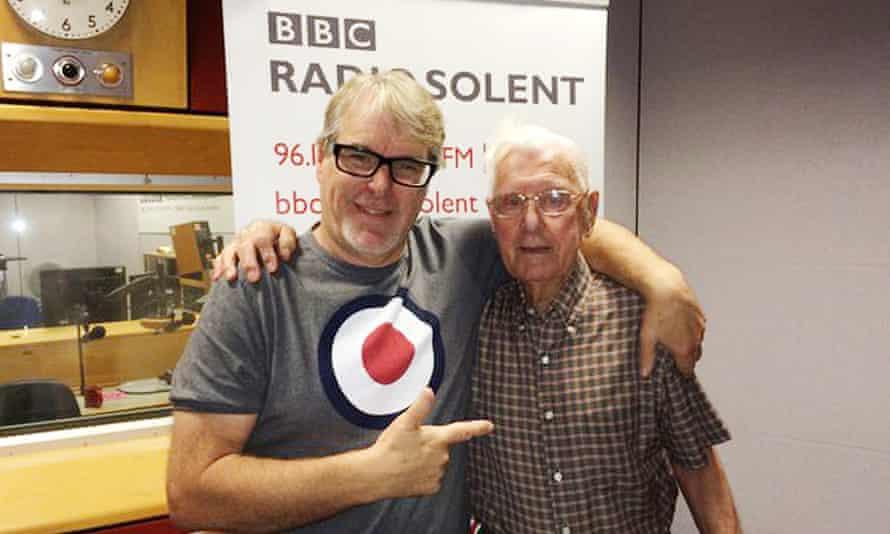 Pernsioner Bill Palmer (right) with BBC Radio Solent presenter Alex Dyke
