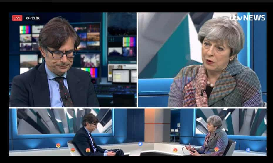 Screengrab taken from Facebook Live broadcast, hosted by ITV News of Prime Minister Theresa May answering questions sent in by users of the social media website, with presenter Robert Peston.