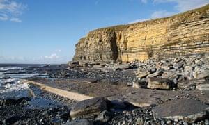 Cliffs on Southerndown Beach in Glamorgan