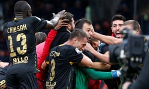 Goalkeeper Alberto Brignoli celebrates after scoring the goal that earned Benevento their first ever Serie A point.