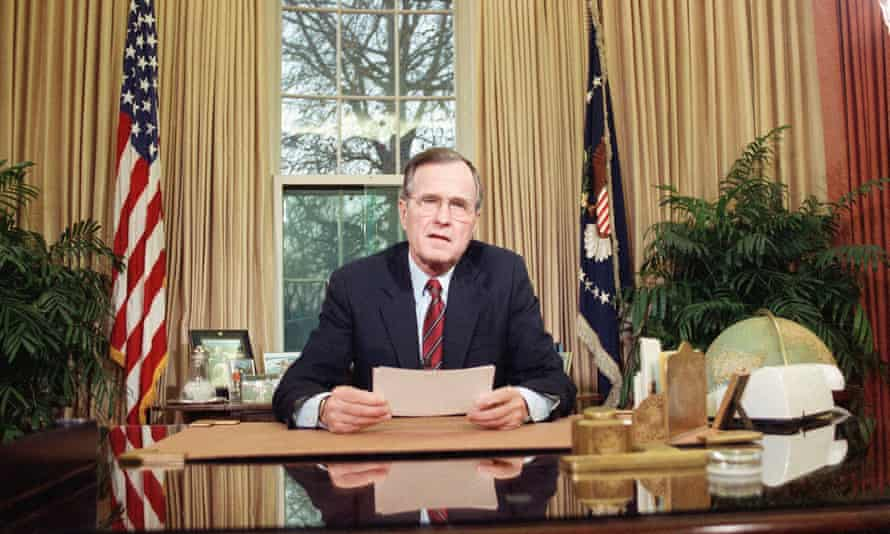 President George HW Bush addresses the nation about the deployment of troops to Panama in December 1989.