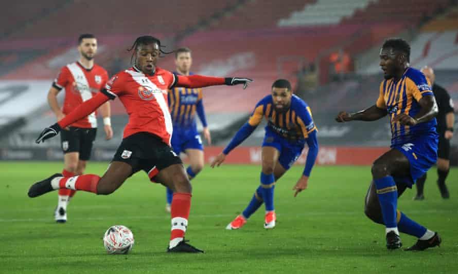 Southampton's Dan N'Lundulu scores his side's first goal of the game against Shrewsbury.