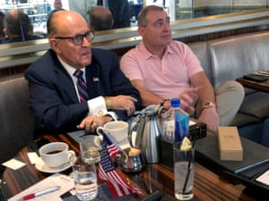 Rudy Giuliani, left, with Lev Parnas at the Trump Hotel in Washington in September.
