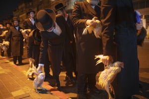 Bnei Brak, IsraelUltra-Orthodox Jews hold chickens later to be slaughtered during the Kaparot ritual. Observant Jews believe the ritual transfers one's sins from the past year into the chicken, and is performed before the Day of Atonement, Yom Kippur, the holiest day in the Jewish year which starts at sundown Sunday