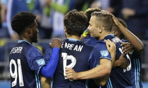 Jordan Morris celebrates after one of his two goals against West Ham on Tuesday. The Sounders rolled to a 3-0 victory in a mid-season friendly match.