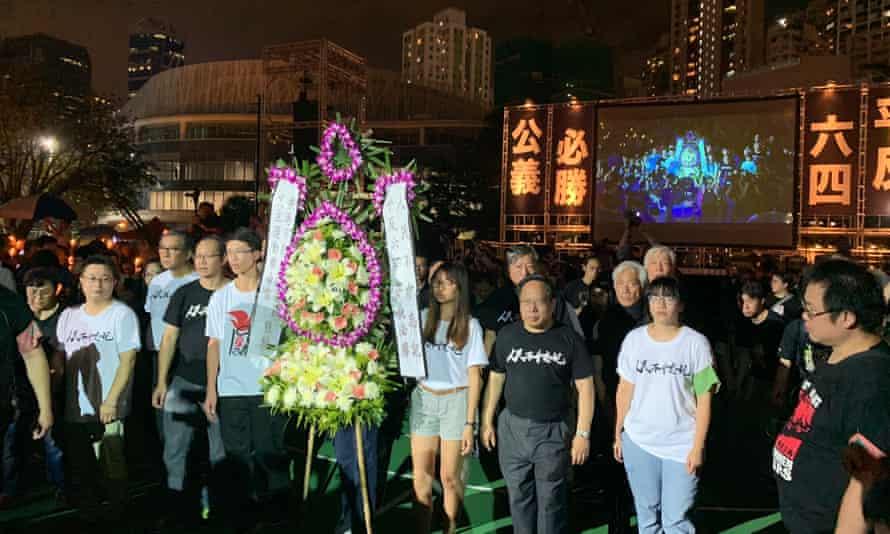 A wreath is laid at the vigil