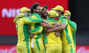 Australia players celebrate the run out of Pakistan's Sarfaraz Ahmed which gave them victory by 41 runs.
