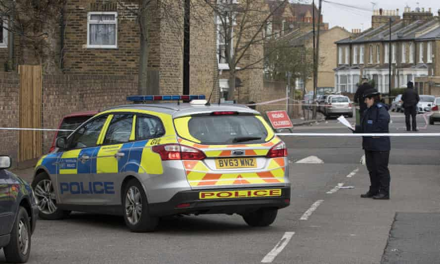 Police at the scene in south-east London after Myron was stabbed to death.