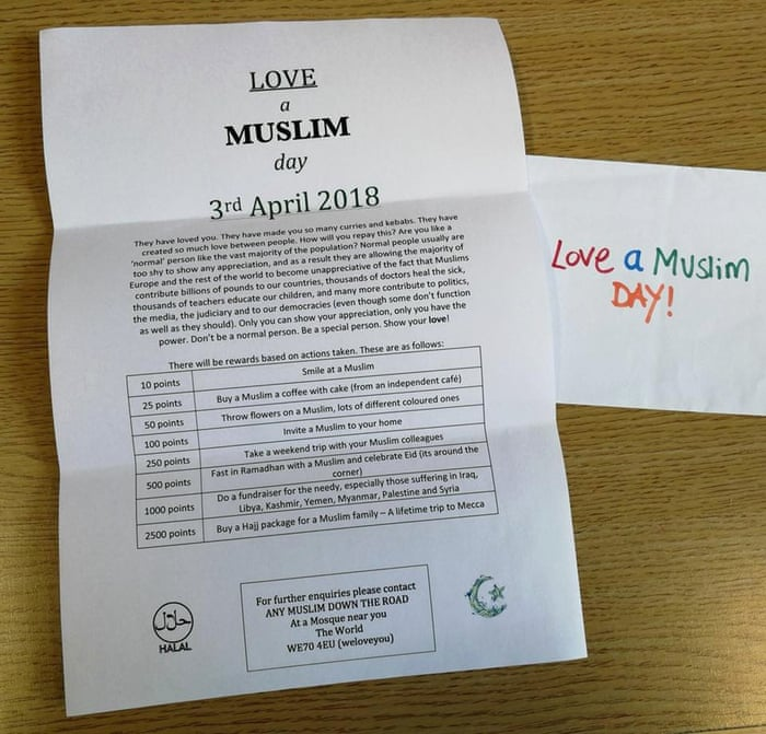 UK communities take action against 'Punish a Muslim Day' letter