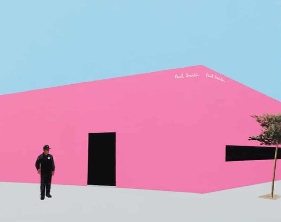 LA landmark … a security guard outside the hot-pink Paul Smith store.