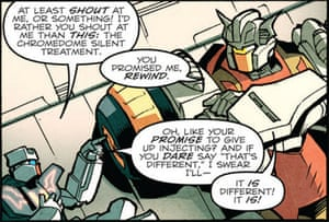 Lovers' tiff … Rewind and Chromedome in Transformers: More than Meets the Eye #12.