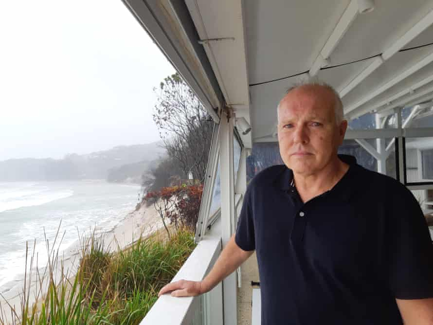 Ben Kirkwood at the Beach cafe in Byron bay looking surveys the erosion to the beach in front of his venue.