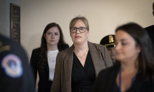 Catherine Croft, a state department adviser on Ukraine, arrives to testify in the impeachment inquiry of Donald Trump.