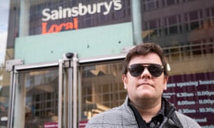 John Dickinson-Lilley outside the Sainsbury's store that barred him in Holborn, central London