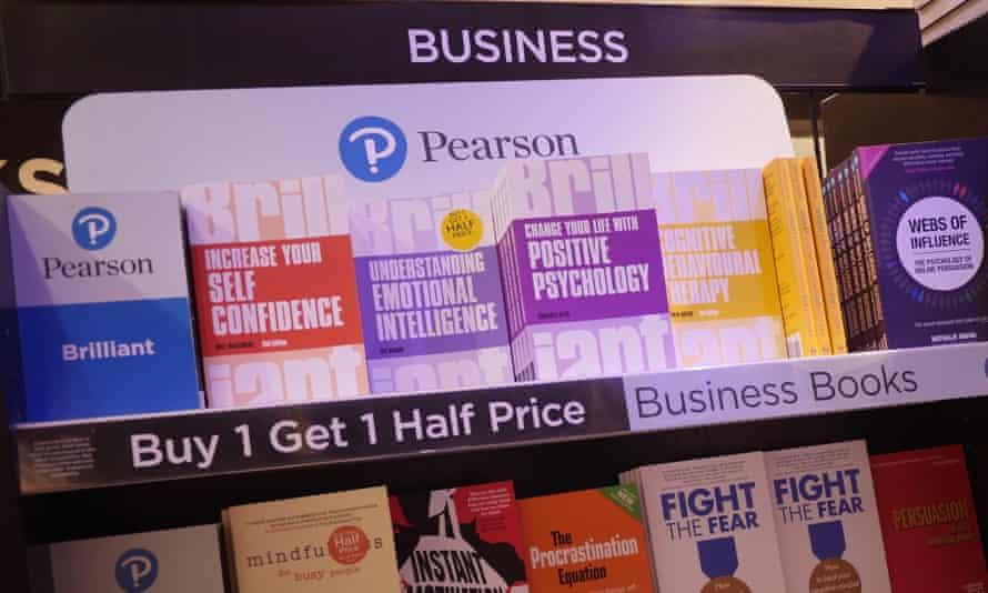 Books on shelf published by Pearson publishing