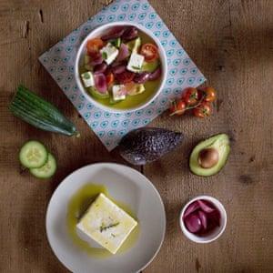 A Greek salad with avocado cubes at Avocaderia, Brooklyn