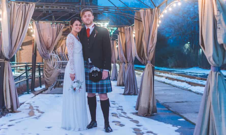 Together apart: Jordan Murphy and Mariel Latourneau on their wedding day