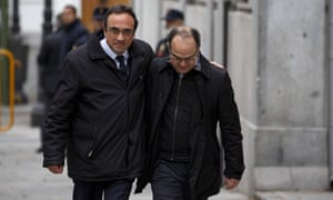 Catalan leaders Jordi Turull and Josep Rull arrive at the supreme court in Madrid.