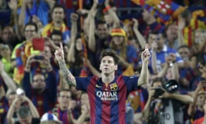 Lionel Messi celebrates after scoring in the Copa del Rey final victory over Athletic Bilbao.