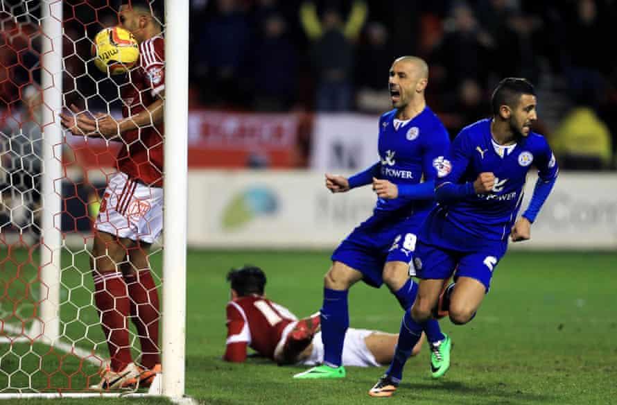 Riyad Mahrez celebrates after scoring at Nottingham Forest in February 2014
