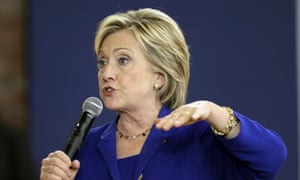 Hillary Clinton speaks during a community forum in Des Moines.