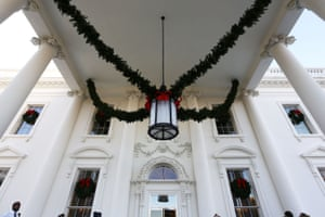 Garlands hang in the North Portico