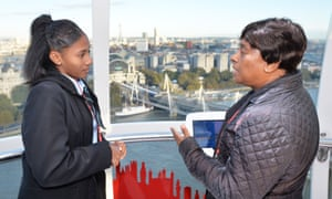 Baroness Lawrence talks to Sheriah Cooke at a 'speed mentoring' event on the London Eye