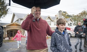 The Kentucky attorney general and Democratic candidate Andy Beshear, and his son Will, 10, departed their polling location earlier today.