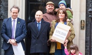 Actor Patrick Stewart with Alfie Dingley and parents at Downing Street in March to hand in a petition with 370,000 signatures asking for a licence for the use of cannabis based treatments for Alfie