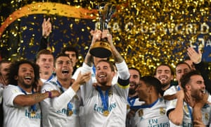 Sergio Ramos of Real Madrid lifts the trophy after the FIFA Club World Cup UAE 2017 final between Gremio and Real Madrid.