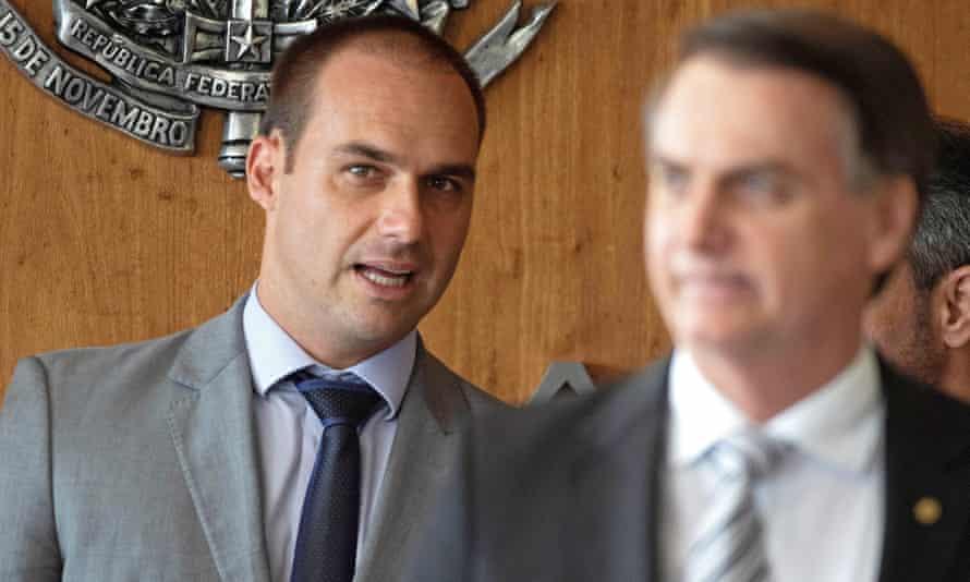 'I'm not going to subject my son to failure,' the president, right, said of Eduardo Bolsonaro.