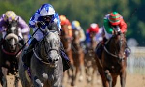 Silvestre De Sousa riding Art Power win The Betway Novice Stakes (Div II) at Newcastle Racecourse.