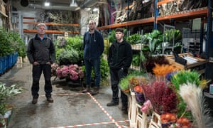 Porter's Foliage stall owner Bryan Porter, his son Sam and his nephew.