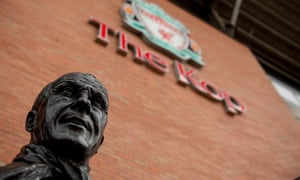 The statue of Bill Shankly outside The Kop stand at Anfield