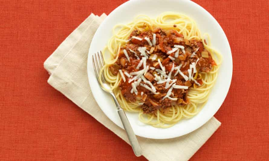 According to Carluccio, spag bol does not exist in Italy, where ragu al bolognese is served over tagliatelle and made 'without any herbs whatsoever' – and without chocolate or instant coffee grains either.