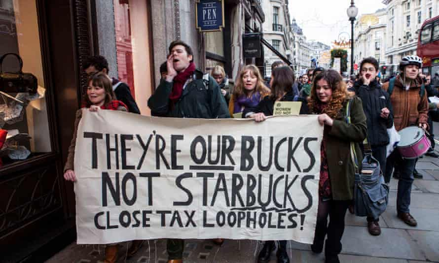 A protest in London against Starbucks corporate tax policies